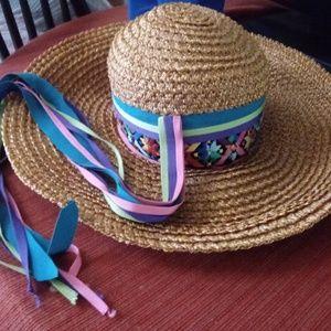 Vintage Yves Saint Laurent Embroidered Straw Hat
